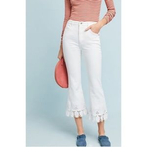 Anthropologie Pilcro white embroidered jeans 28